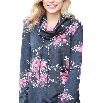 Chicloth Pink Floral Print Cowl Neck Charcoal Sweatshirt