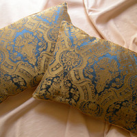 Pair of Rubelli Lippi Blue and Yellow Silk Damask Fabric Throw Pillow Cushion Covers - Handmade in Italy