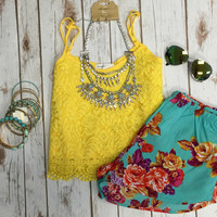 Lace Crop Top: Lemon