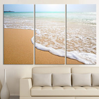 Large Wall Art Wave on the Beach Canvas Print - 3 Panel Wall Art Canvas - Sea and Ocean Photo Print on Canvas