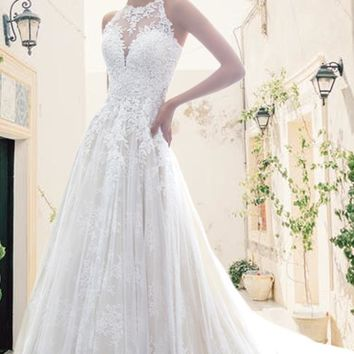 Aliano Lace Halter Wedding Dress
