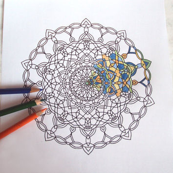 Adult Coloring Page - PDF Printable Drawing - Abstract Mandala Art 'Deco' - Number 4 - Instant Download