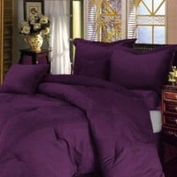 Chezmoi Collection 90 by 92-Inch 7-Piece Micro Suede Comforter/Bed-in-a-Bag Set, Queen, Solid Lavender Purple