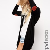 ASOS PETITE Longline Cardigan With Elbow Patch