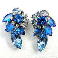 Vintage Rhinestone Earrings, Sapphire Earrings, Olympian Blue, Hollywood Glamour, Clip-On Earrings, Blue Earrings, Formal Jewelry