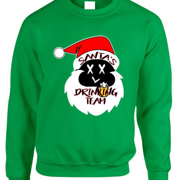 Adult Sweatshirt Santa's Drinking Team Fun Ugly Xmas Sweater