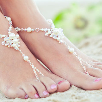 Barefoot sandals, beach wedding sandals, bridal beach shoes, footless sandles, destination wedding, Bohemian wedding. JESSICA Cream Medium