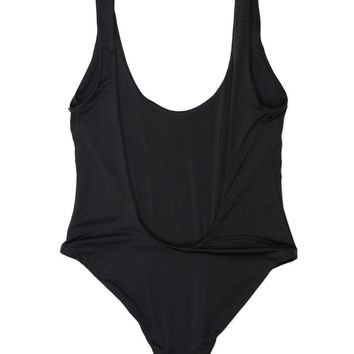 Deep V One Piece Swimsuit - Black