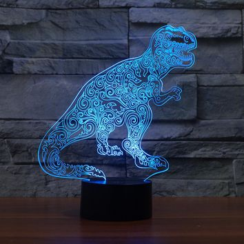 3D Illusion Night Light  LED Light 7 Color with Touch Switch USB Cable Nice Gift Home Office Decorations,Tyrannosaurus Rex