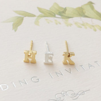 Initial Earrings, Initial Studs, Alphabet Earrings, Tiny Earrings, Tiny Studs, Letter Earrings, Letter Studs