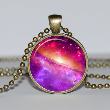 Navy lilac necklace - spring jewelry - nebula pendant - center of the universe - interstellar