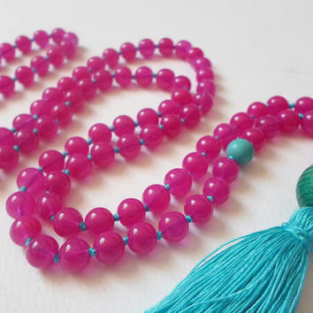 Fuschia jasper 108 Mala Prayer beads, Blue Tassel Long Necklace, Yoga Meditation  Japa Mala, Buddhist Necklace, Gemstone Hand Knotted Mala