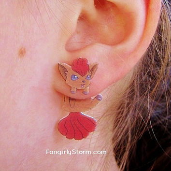 Vulpix Pokemon Clinging earrings Handmade kawaii gamer two part front and back post earrings