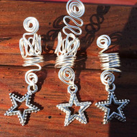 3 Choose Your Own charms loc accessories set dreadlock dreads adornments silver wire hair falls