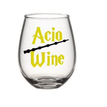 Wine Glasses -Harry Potter Inspired Wine Glass, Acio Wine Glass