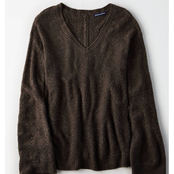 AE Zip-Back Bell Sleeve Sweater, Charcoal