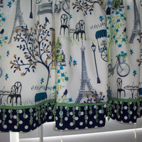Waverly Paris Valance with beads /Custom Boutique Curtain / Navy, lime green, light blue-for Girls Bedroom/ Bathroom, Lined Window Treatment