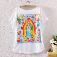 Vintage Womens Short Batwing Sleeve Christ Graphic Digital Print Loose T Shirt Tee Tops (Color: White) = 1945909060