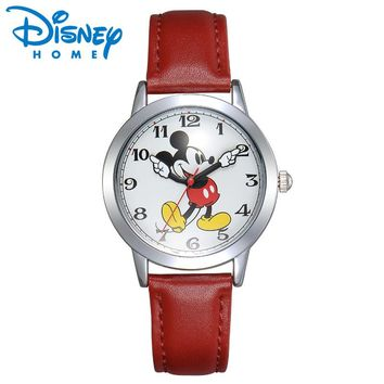 Disney Watch Mickey Mouse Women Watches Fashion Top Brand Wristwatch relogio feminino Casual Quartz Leather Strap Kid's Watches