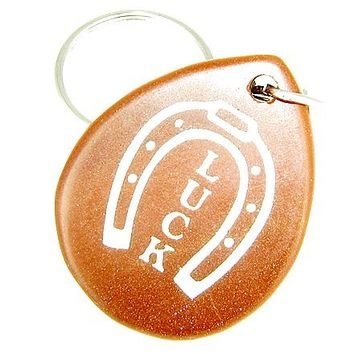 Lucky Horse Shoe Wish Stone Goldstone Gemstone Keychain