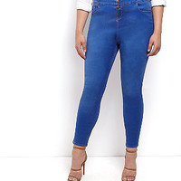 Plus Size Blue High Waisted Supersoft Skinny Jeans