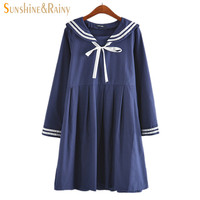 2016 autumn summer new women's dress female cotton-line Japanese Naval College style sweet striped pure girls dress 2 colors