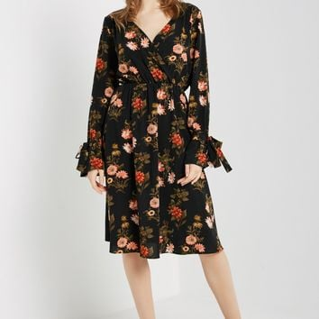 Floral Surplice Midi Dress