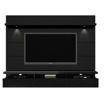 Cabrini 2.2 Floating Wall Theater Entertainment Center in Black Gloss and Black Matte