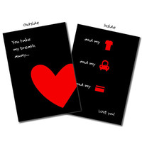 You Take My Breath Away - Printable Valentine Card in Black, Valentine's Day, Happy Valentines Day, Funny Greeting Card, DIY Printable