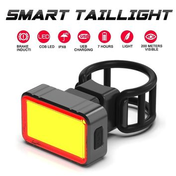 WorthWhile Smart Bike Rear Light LED COB Brake Sensing Taillight Cycling Flashlight for Bicycle Accessories USB Rechargeable