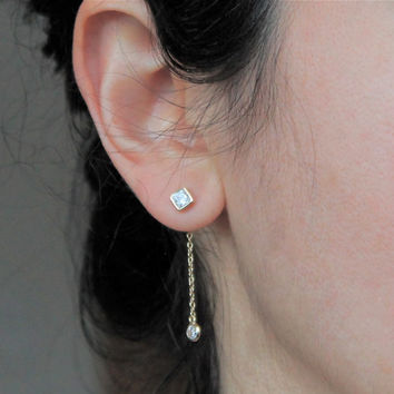 Stud and Chain  Earrings, Gift Ideas, Dainty Jewelry.