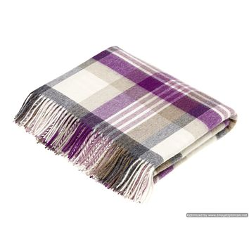 Merino Lambswool Throw Blanket - Melbourne - Clover, Made in England