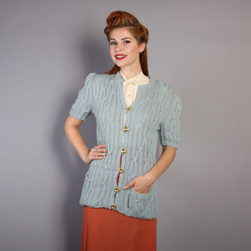 40s Cable Knit CARDIGAN / Dusty Blue Puffed Sleeve Wool SWEATER, xs-m