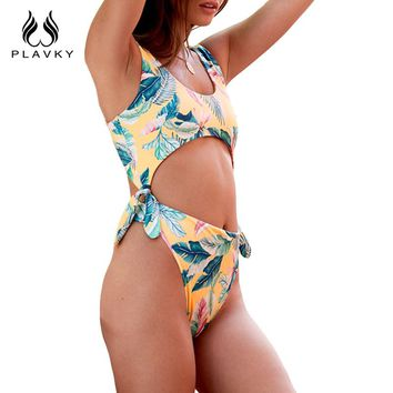 PLAVKY Sexy Tropical Palm Knot Trikini Cut Out Bathing Suit Backless Monokini High Cut Thong Swimwear Women One Piece Swimsuit