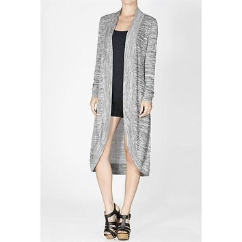 Marled Open Front Asymmetrical Hem Long Sleeve Knit Cardigan