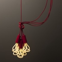 Plumen Metal Drop Cap Pendant and Designer Low Energy CFL Bulb - Red | www.hayneedle.com