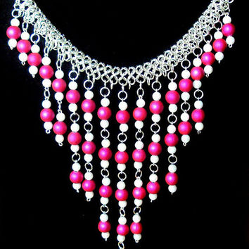 Fuchsia statement necklace- egyptian inspired collar necklace -  white and pink handcrafted jewelry - fuchsia bauble chain maille necklace