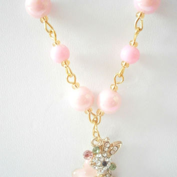 Pink Bunny Necklace - Rhinestone Jewelry - Faux pearl Necklaces - Pastel Jewellery - Rabbit Necklace - Cute Gift Idea - Woodland Necklaces