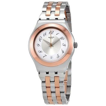 Swatch Midimix Silver Dial Ladies Two Tone Watch YLS454G
