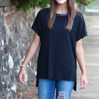 Touch of Leather Top {Black}