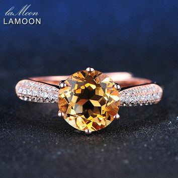 LAMOON Luxury Pave Setting 8mm 2ct Citrine 925 Sterling Silver Jewelry Wedding Ring with Rose Gold Plated S925 For Women LMRI001