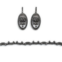 Marcasite And Rhinestone Sterling Silver Jewelry Set, Art Deco Jewelry