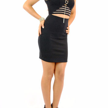 (amn) Elastic front detail bodycon black short dress