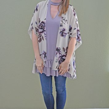 Right On Track Floral Print Kimono
