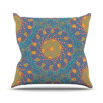"Miranda Mol ""Prismatic Orange"" Orange Blue Abstract Outdoor Throw Pillow"