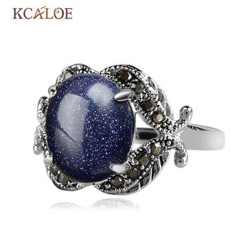 KCALOE Blue Sand Ring For Women Natural Gravel Stone Vintage Black Antique Cubic Zirconia Rhinestone Silver Color Ring Anel