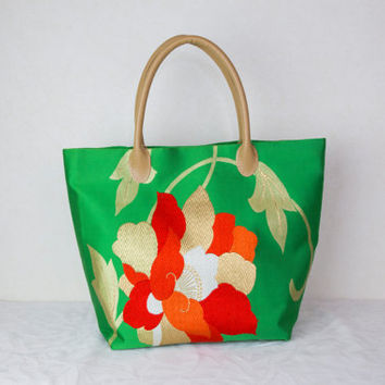 "Japanese Tote Bag ""Red and Gold Blossoms"" (Japanese Kimono Bag; Silk Bag; Japanese Bag Kimono Tote Bag; Green tote bag, Japanese bag, tote)"