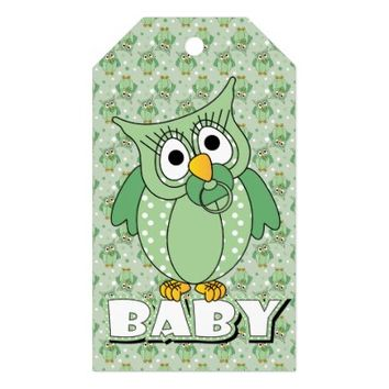 Green Baby Polka Dotted Owl Pack Of Gift Tags