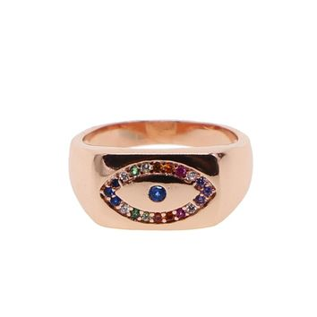 Top Quality Luxury 2018 rose gold color micro pave evil eye Multicolored CZ fashion turkish jewelry women ring