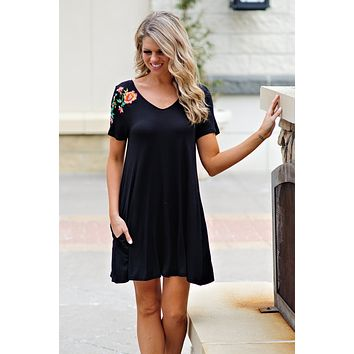 * Annie Dress With Embroidered Detail And Criss Cross Back : Black